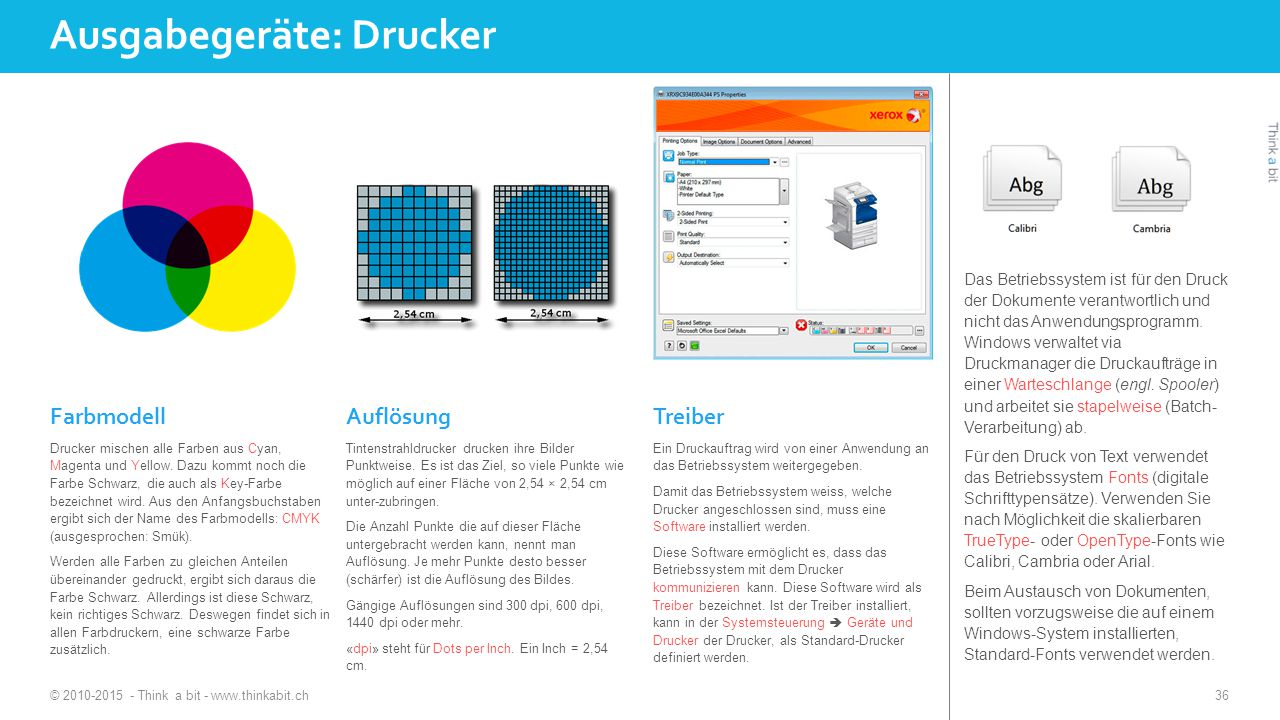Ausgabegeräte: Drucker © 2010-2015 - Think a bit - www.thinkabit.ch 36 Farbmodell Drucker mischen alle Farben aus Cyan, Magenta und Yellow.