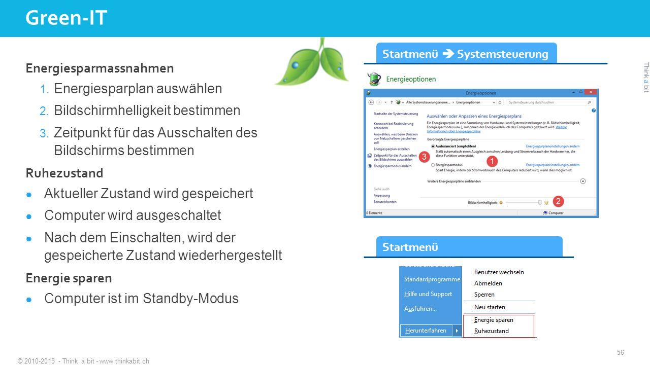Green-IT © 2010-2015 - Think a bit - www.thinkabit.ch Energiesparmassnahmen 1.
