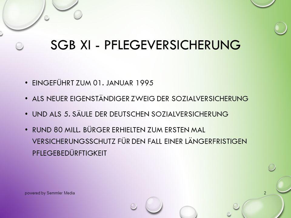 SGB XI - PFLEGEVERSICHERUNG EINGEFÜHRT ZUM 01. JANUAR 1995 ALS NEUER EIGENSTÄNDIGER ZWEIG DER SOZIALVERSICHERUNG UND ALS 5. SÄULE DER DEUTSCHEN SOZIAL