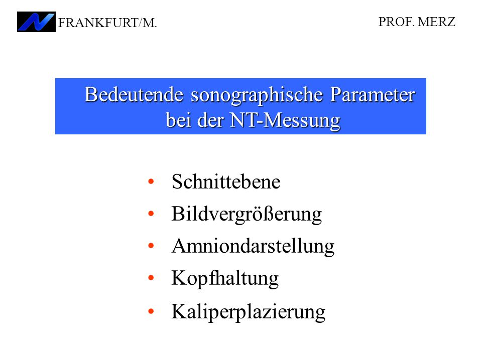 Schnittebene Bildvergrößerung Amniondarstellung Kopfhaltung Kaliperplazierung Bedeutende sonographische Parameter bei der NT-Messung PROF. MERZ FRANKF