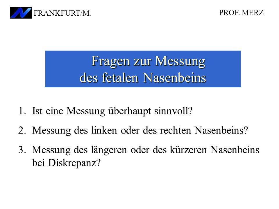 Fragen zur Messung des fetalen Nasenbeins Fragen zur Messung des fetalen Nasenbeins 1.Ist eine Messung überhaupt sinnvoll? 2.Messung des linken oder d