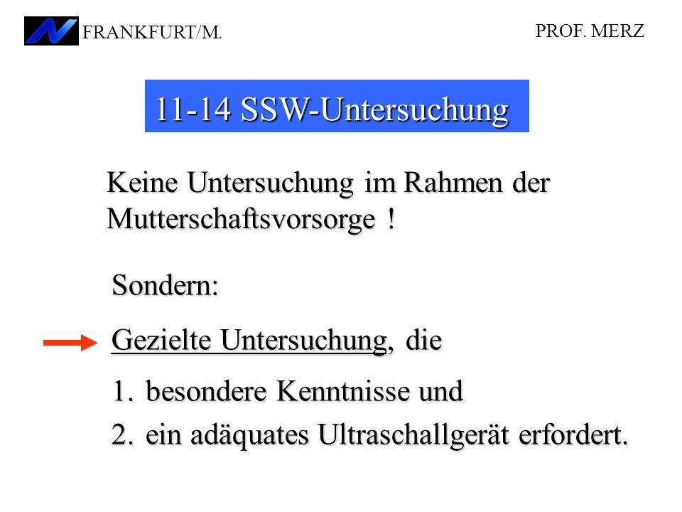 11-14 SSW-Untersuchung Keine Untersuchung im Rahmen der Mutterschaftsvorsorge ! Sondern: Gezielte Untersuchung, die 1.besondere Kenntnisse und 2.ein a