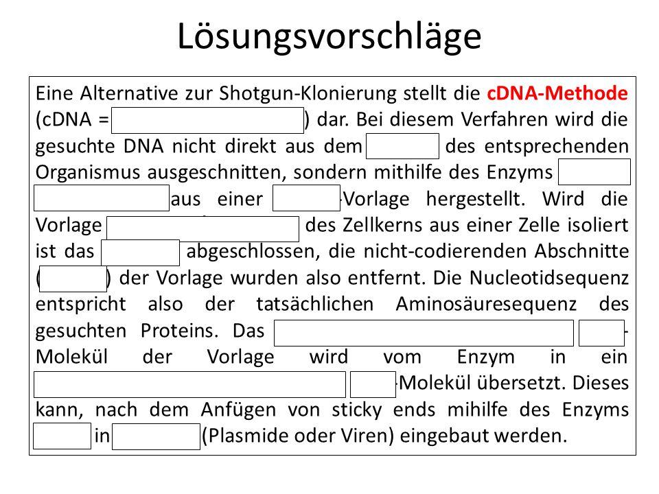 Lösungsvorschläge Eine Alternative zur Shotgun-Klonierung stellt die cDNA-Methode (cDNA = complementary DNA) dar. Bei diesem Verfahren wird die gesuch