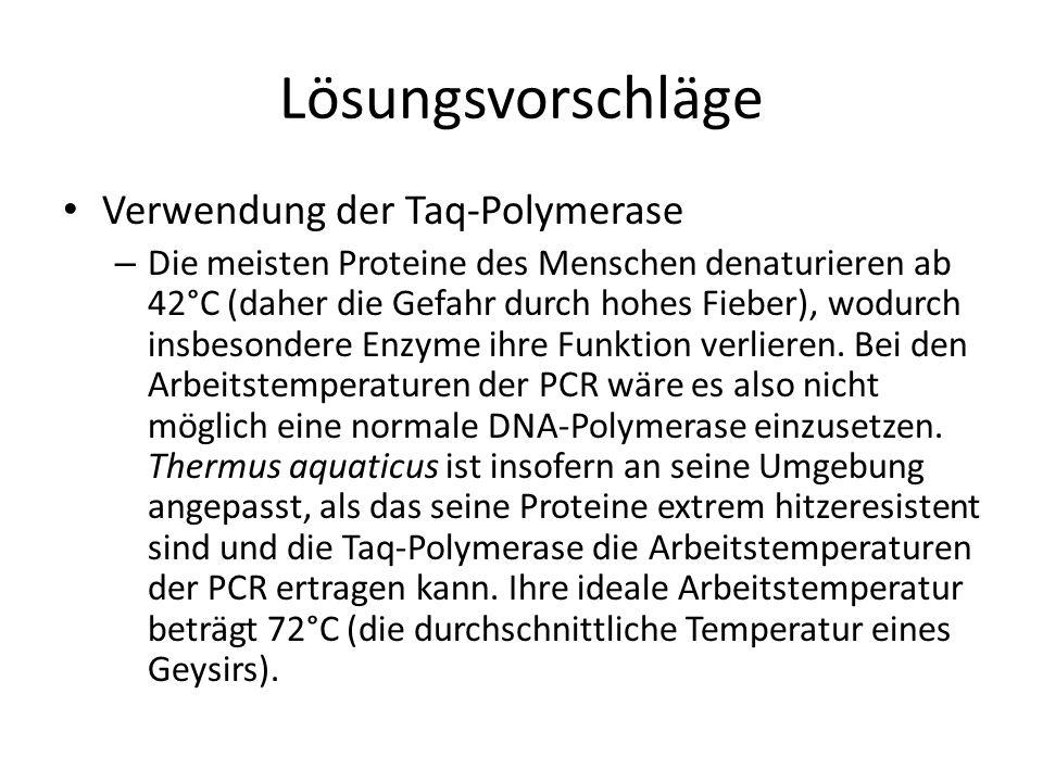 Verwendung der Taq-Polymerase – Die meisten Proteine des Menschen denaturieren ab 42°C (daher die Gefahr durch hohes Fieber), wodurch insbesondere Enz