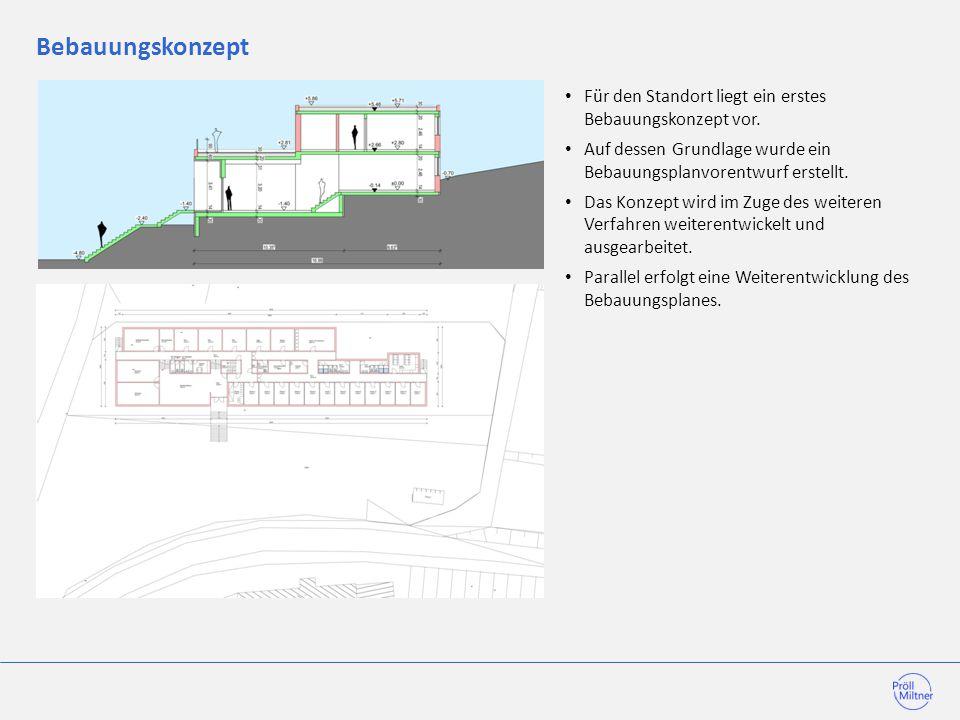Bebauungskonzept Für den Standort liegt ein erstes Bebauungskonzept vor. Auf dessen Grundlage wurde ein Bebauungsplanvorentwurf erstellt. Das Konzept