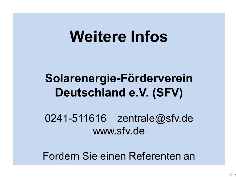 Weitere Infos Solarenergie-Förderverein Deutschland e.V. (SFV) 0241-511616 zentrale@sfv.de www.sfv.de Fordern Sie einen Referenten an 120