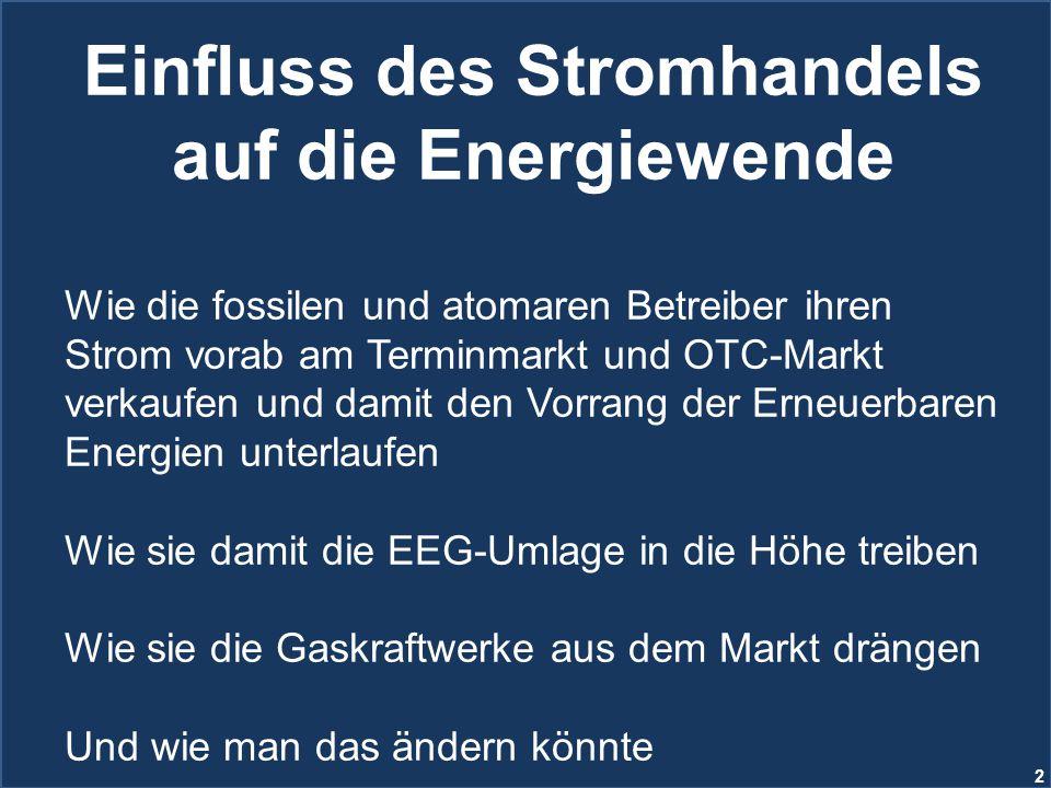 2 Einfluss des Stromhandels auf die Energiewende Wie die fossilen und atomaren Betreiber ihren Strom vorab am Terminmarkt und OTC-Markt verkaufen und
