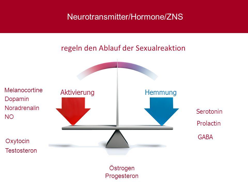 regeln den Ablauf der Sexualreaktion Dopamin Noradrenalin NO Serotonin AktivierungHemmung GABA Neurotransmitter/Hormone/ZNS Prolactin Melanocortine Ox