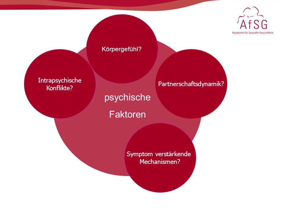 psychische Faktoren Intrapsychische Konflikte? Körpergefühl? Partnerschaftsdynamik? Symptom verstärkende Mechanismen?