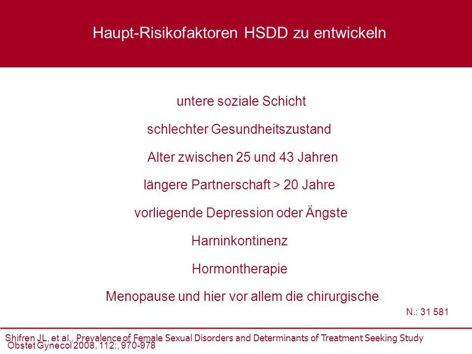 untere soziale Schicht Alter zwischen 25 und 43 Jahren längere Partnerschaft > 20 Jahre vorliegende Depression oder Ängste schlechter Gesundheitszusta