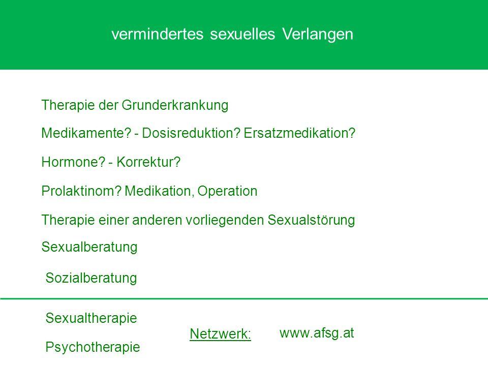 Sexualtherapie Sexualberatung Medikamente? - Dosisreduktion? Ersatzmedikation? Hormone? - Korrektur? Psychotherapie Sozialberatung Prolaktinom? Medika