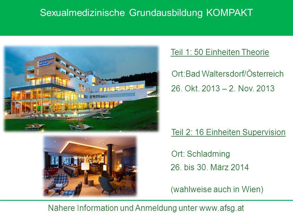 Nähere Information und Anmeldung unter www.afsg.at Teil 2: 16 Einheiten Supervision Teil 1: 50 Einheiten Theorie Ort:Bad Waltersdorf/Österreich Ort: S