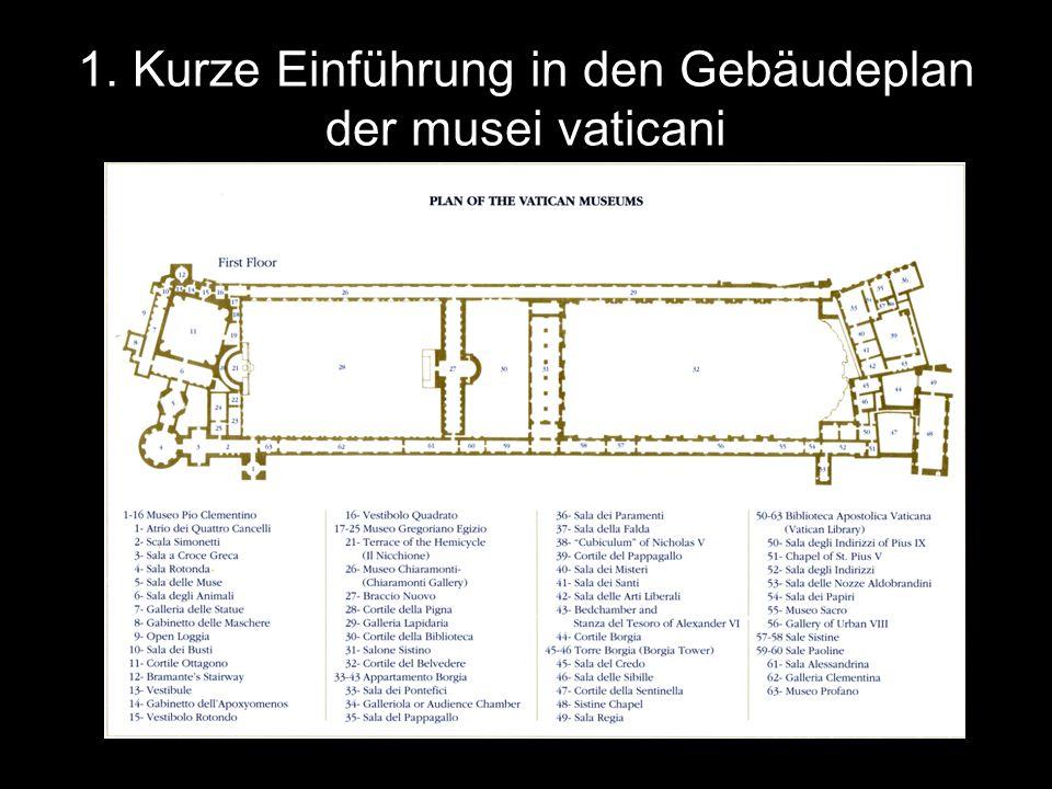 1. Kurze Einführung in den Gebäudeplan der musei vaticani