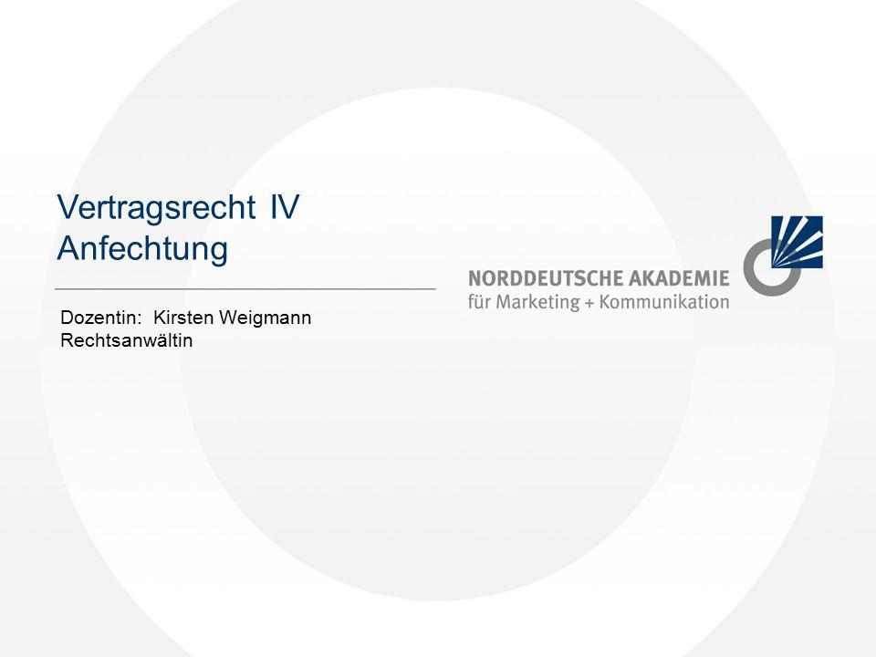 Norddeutsche Akademie / Dozent / Jahr Kapitel 1 Vertragsrecht IV Anfechtung Dozentin: Kirsten Weigmann Rechtsanwältin