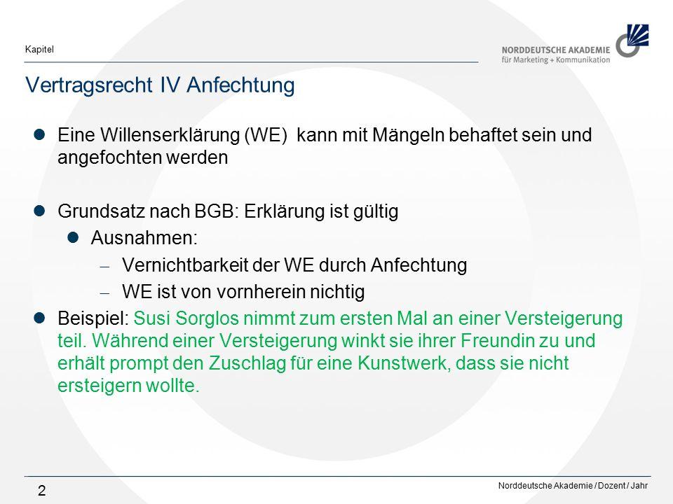 Norddeutsche Akademie / Dozent / Jahr Kapitel 2 Vertragsrecht IV Anfechtung Eine Willenserklärung (WE) kann mit Mängeln behaftet sein und angefochten