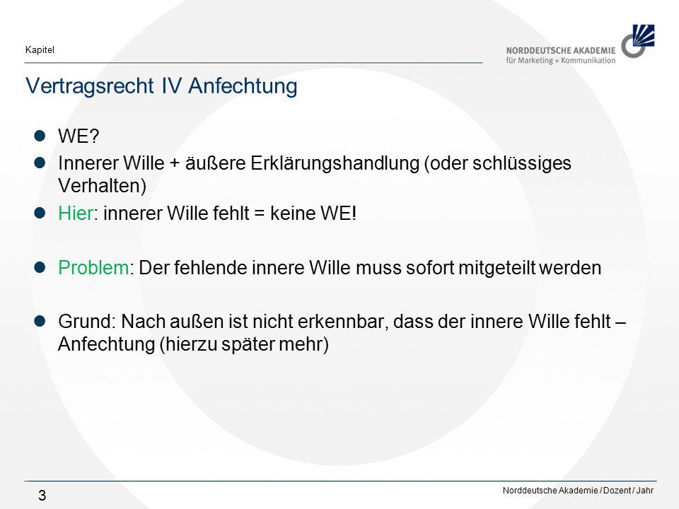 Norddeutsche Akademie / Dozent / Jahr Kapitel 4 Vertragsrecht IV Anfechtung Anfechtung: Anfechtungserklärung (einseitige, empfangsbedürftige WE) + Anfechtungsgrund Anfechtungsgründe: Inhaltsirrtum, § 119 Abs.