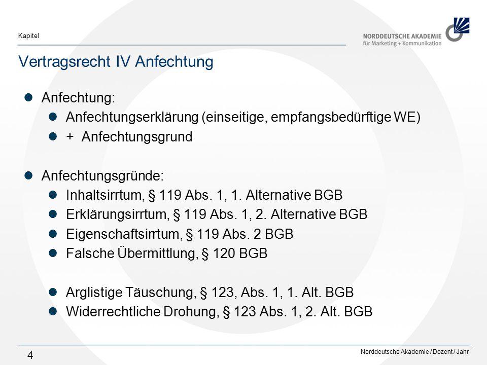 Norddeutsche Akademie / Dozent / Jahr Kapitel 4 Vertragsrecht IV Anfechtung Anfechtung: Anfechtungserklärung (einseitige, empfangsbedürftige WE) + Anf