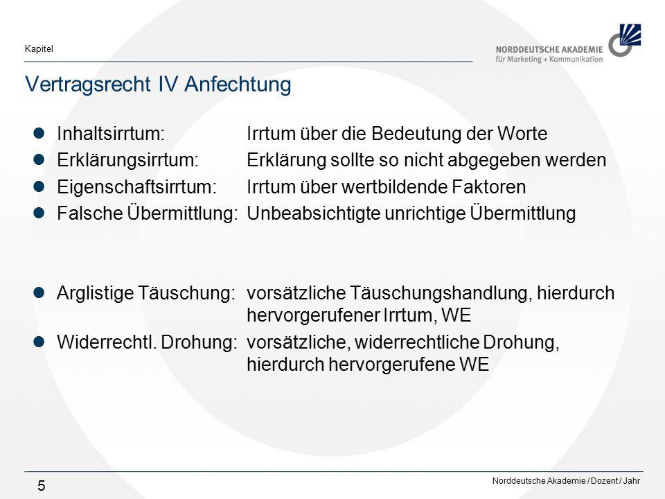 Norddeutsche Akademie / Dozent / Jahr Kapitel 5 Vertragsrecht IV Anfechtung Inhaltsirrtum:Irrtum über die Bedeutung der Worte Erklärungsirrtum:Erkläru