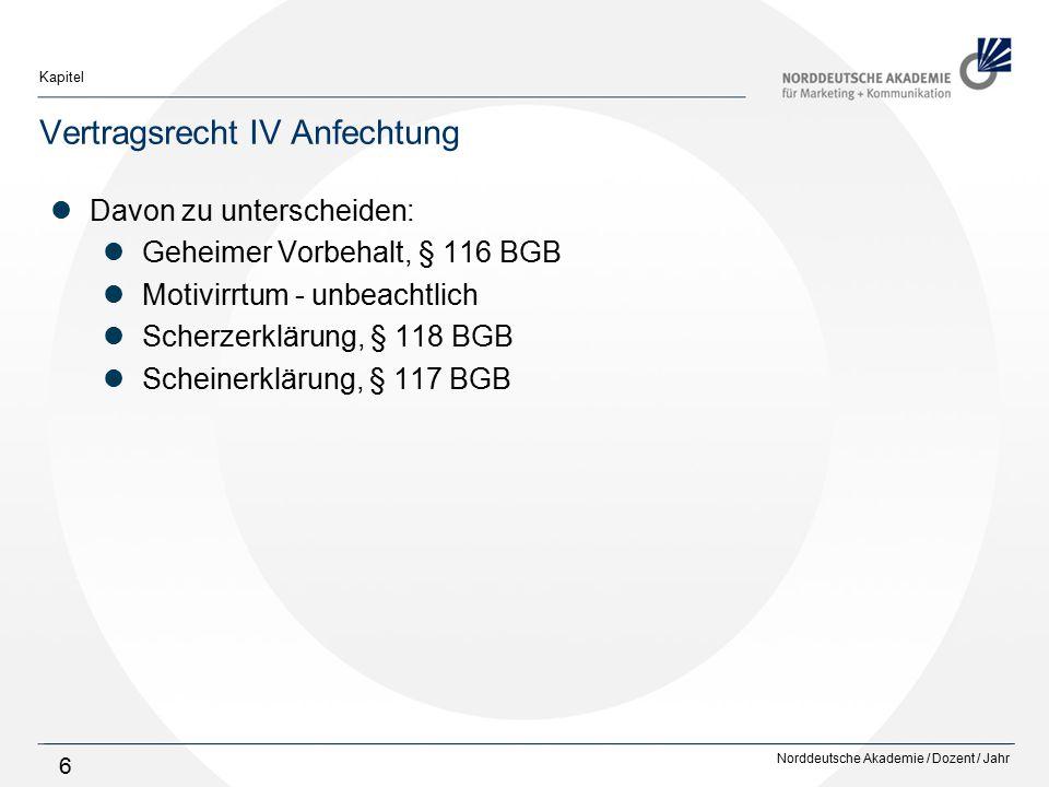 Norddeutsche Akademie / Dozent / Jahr Kapitel 6 Vertragsrecht IV Anfechtung Davon zu unterscheiden: Geheimer Vorbehalt, § 116 BGB Motivirrtum - unbeac