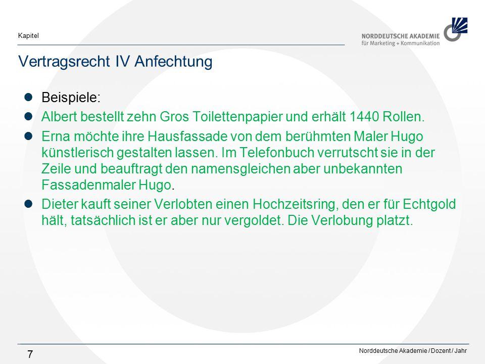 Norddeutsche Akademie / Dozent / Jahr Kapitel 7 Vertragsrecht IV Anfechtung Beispiele: Albert bestellt zehn Gros Toilettenpapier und erhält 1440 Rolle