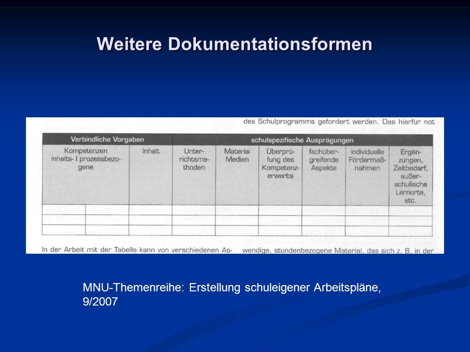 Weitere Dokumentationsformen MNU-Themenreihe: Erstellung schuleigener Arbeitspläne, 9/2007