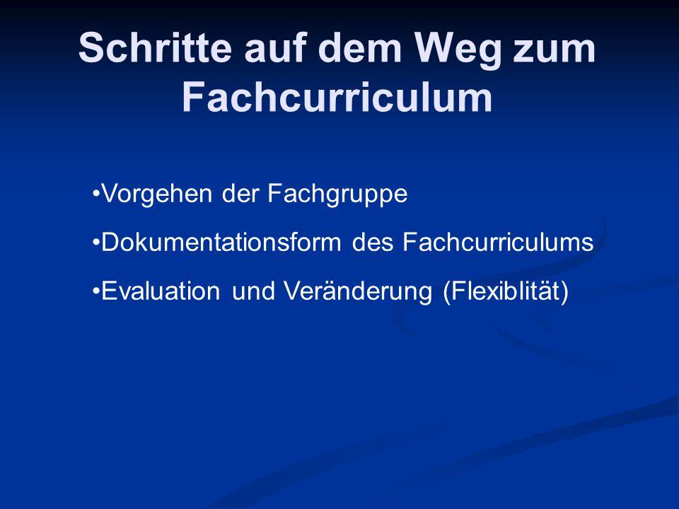 Schritte auf dem Weg zum Fachcurriculum Vorgehen der Fachgruppe Dokumentationsform des Fachcurriculums Evaluation und Veränderung (Flexiblität)