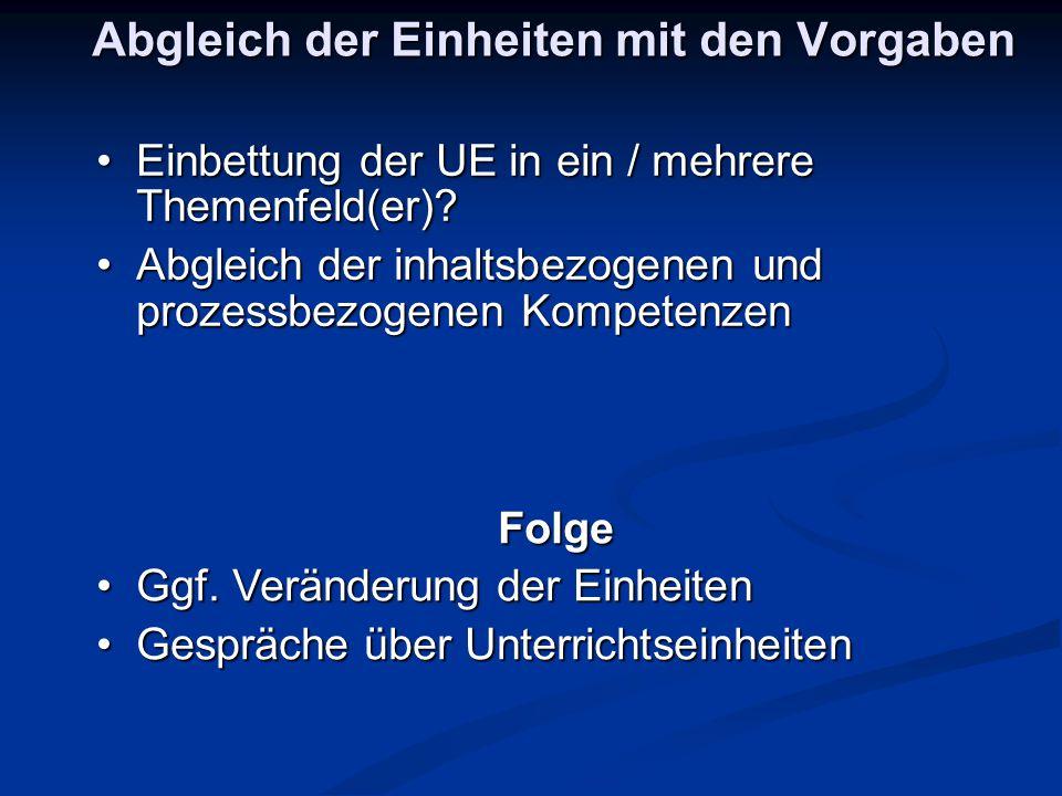Abgleich der Einheiten mit den Vorgaben Einbettung der UE in ein / mehrere Themenfeld(er)?Einbettung der UE in ein / mehrere Themenfeld(er)? Abgleich