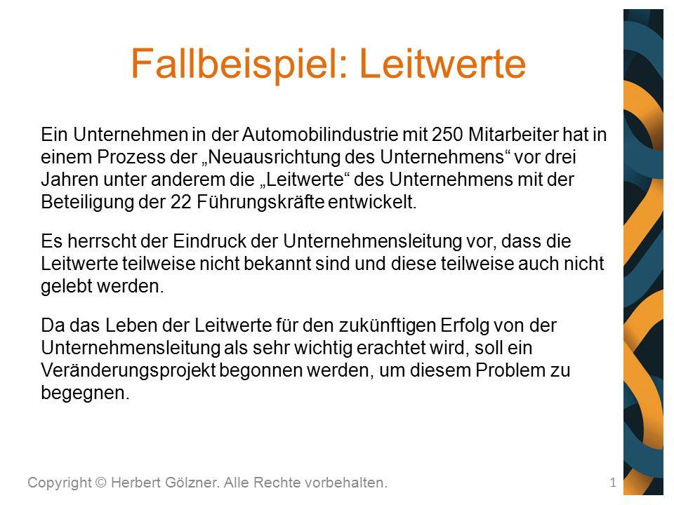 Fallbeispiel: Leitwerte Copyright © Herbert Gölzner. Alle Rechte vorbehalten. 1 Ein Unternehmen in der Automobilindustrie mit 250 Mitarbeiter hat in e