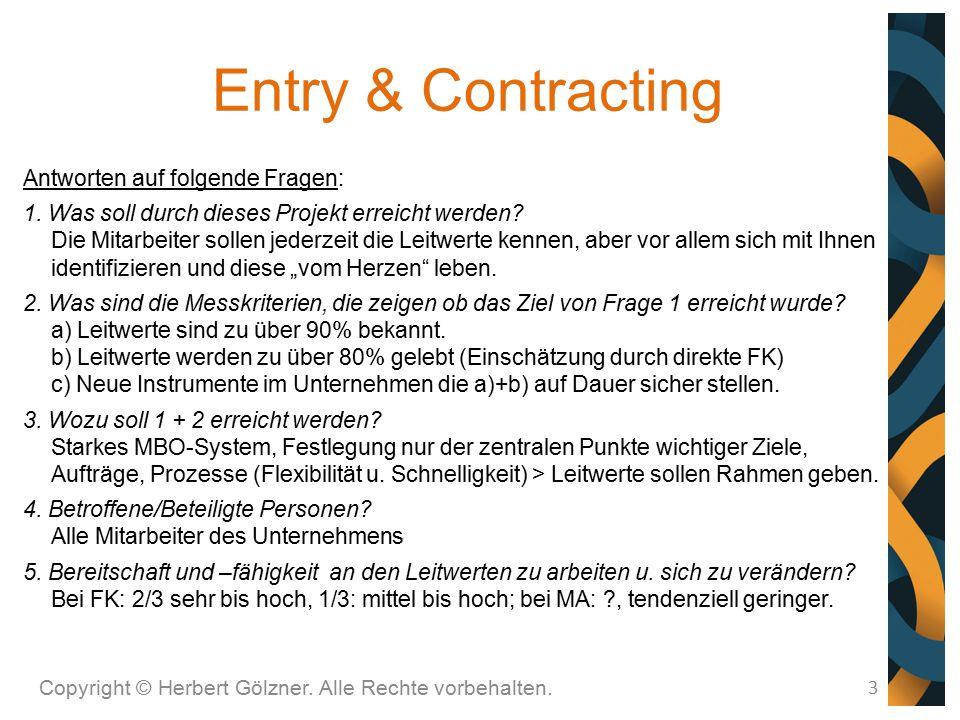 Entry & Contracting Copyright © Herbert Gölzner. Alle Rechte vorbehalten. 3 Antworten auf folgende Fragen: 1. Was soll durch dieses Projekt erreicht w