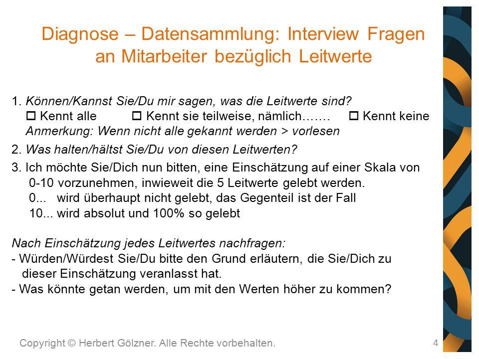 Diagnose – Datensammlung: Interview Fragen an Mitarbeiter bezüglich Leitwerte Copyright © Herbert Gölzner. Alle Rechte vorbehalten. 4 1. Können/Kannst