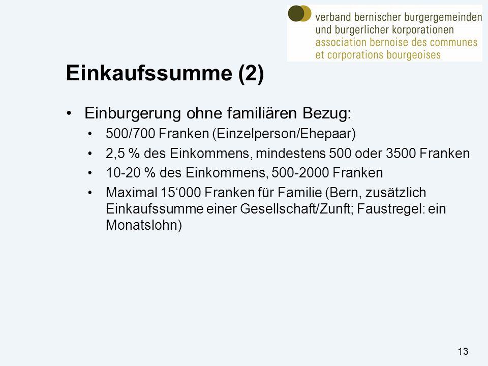 Einkaufssumme (2) Einburgerung ohne familiären Bezug: 500/700 Franken (Einzelperson/Ehepaar) 2,5 % des Einkommens, mindestens 500 oder 3500 Franken 10