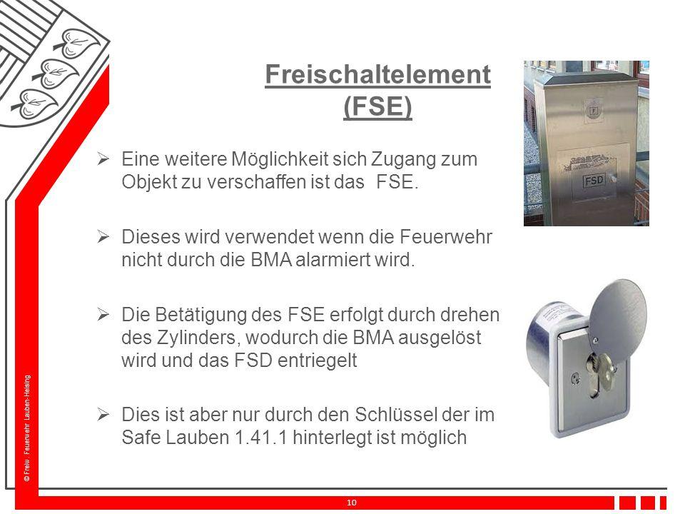 © Freiw. Feuerwehr Lauben-Heising 10 Freischaltelement (FSE)  Eine weitere Möglichkeit sich Zugang zum Objekt zu verschaffen ist das FSE.  Dieses wi