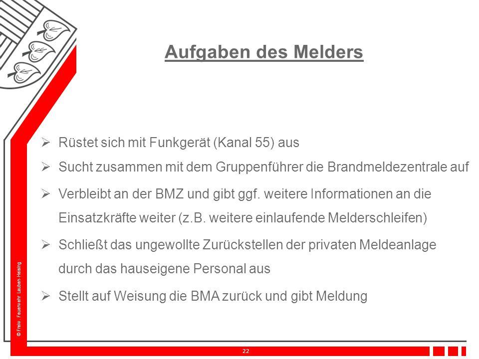 © Freiw. Feuerwehr Lauben-Heising 22 Aufgaben des Melders  Rüstet sich mit Funkgerät (Kanal 55) aus  Sucht zusammen mit dem Gruppenführer die Brandm