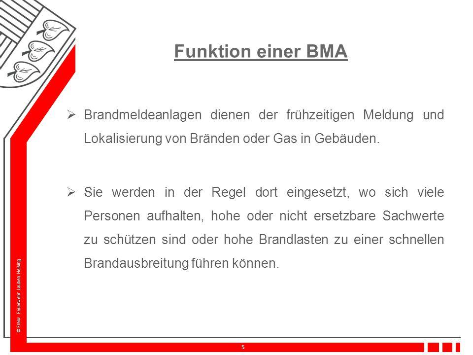 © Freiw. Feuerwehr Lauben-Heising 5 Funktion einer BMA  Brandmeldeanlagen dienen der frühzeitigen Meldung und Lokalisierung von Bränden oder Gas in G