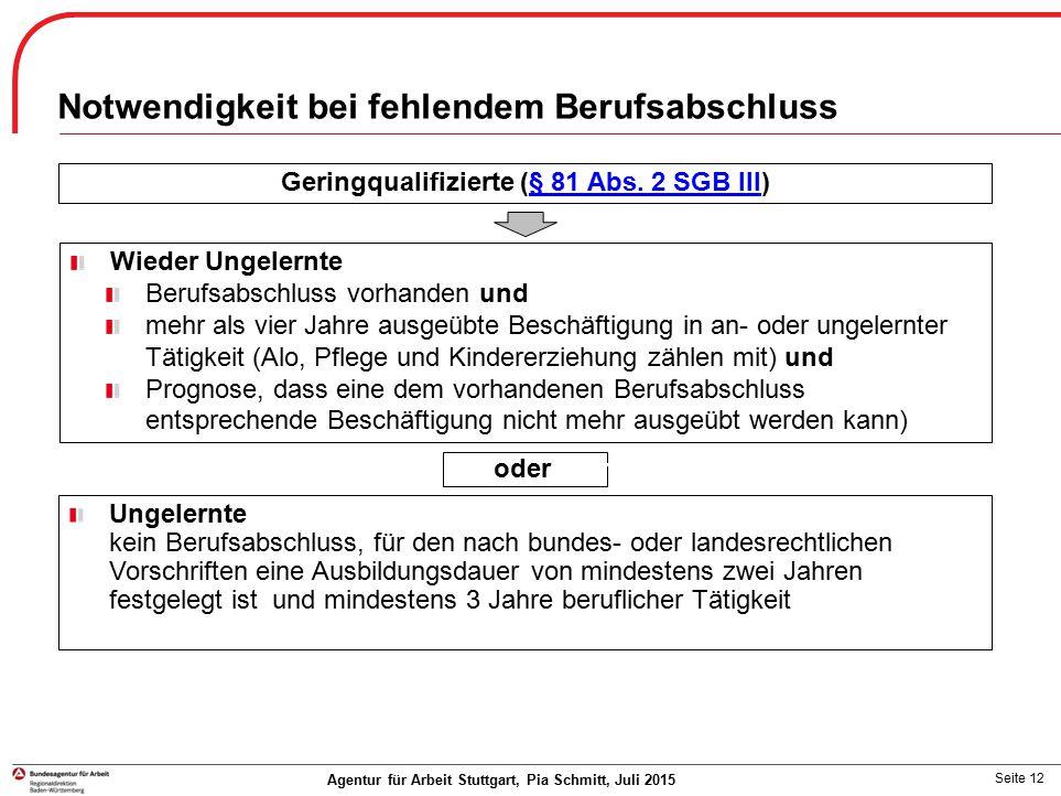 Seite 12 Notwendigkeit bei fehlendem Berufsabschluss Agentur für Arbeit Stuttgart, Pia Schmitt, Juli 2015 Geringqualifizierte (§ 81 Abs. 2 SGB III)§ 8
