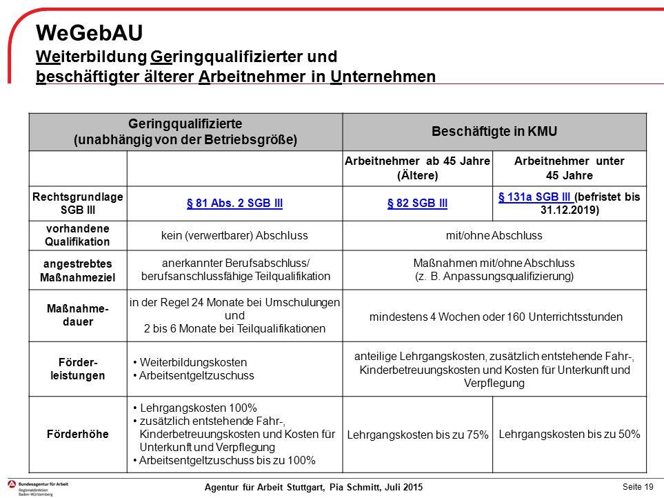 Seite 19 WeGebAU Weiterbildung Geringqualifizierter und beschäftigter älterer Arbeitnehmer in Unternehmen Agentur für Arbeit Stuttgart, Pia Schmitt, J