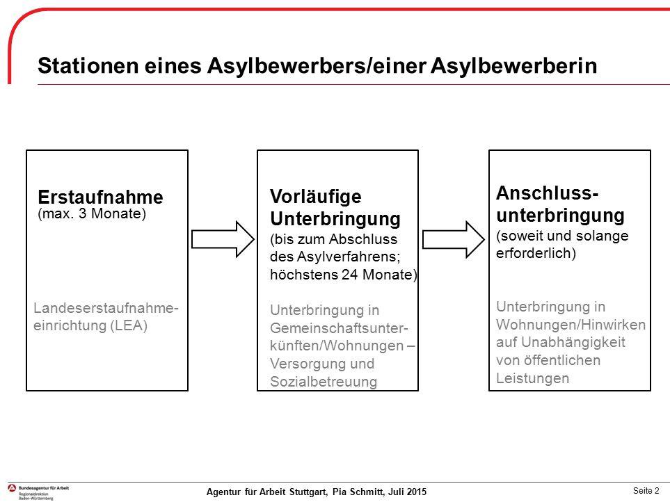 Seite 23 Agentur für Arbeit Stuttgart, Pia Schmitt, Juli 2015  Anerkannte Ausbildung bedarf keiner Zustimmung durch die BA (Wartezeit mit Aufenthaltsgestattung: 3 Monate; mit Duldung keine Wartezeit)  Aufenthaltsstatus hat jedoch Auswirkungen auf die Fördermöglichkeiten  Praktika und Einstiegsqualifizierungen (EQ) sind zustimmungspflichtig  Übersichten Ausbildungsförderung: Ausbildungsförderung