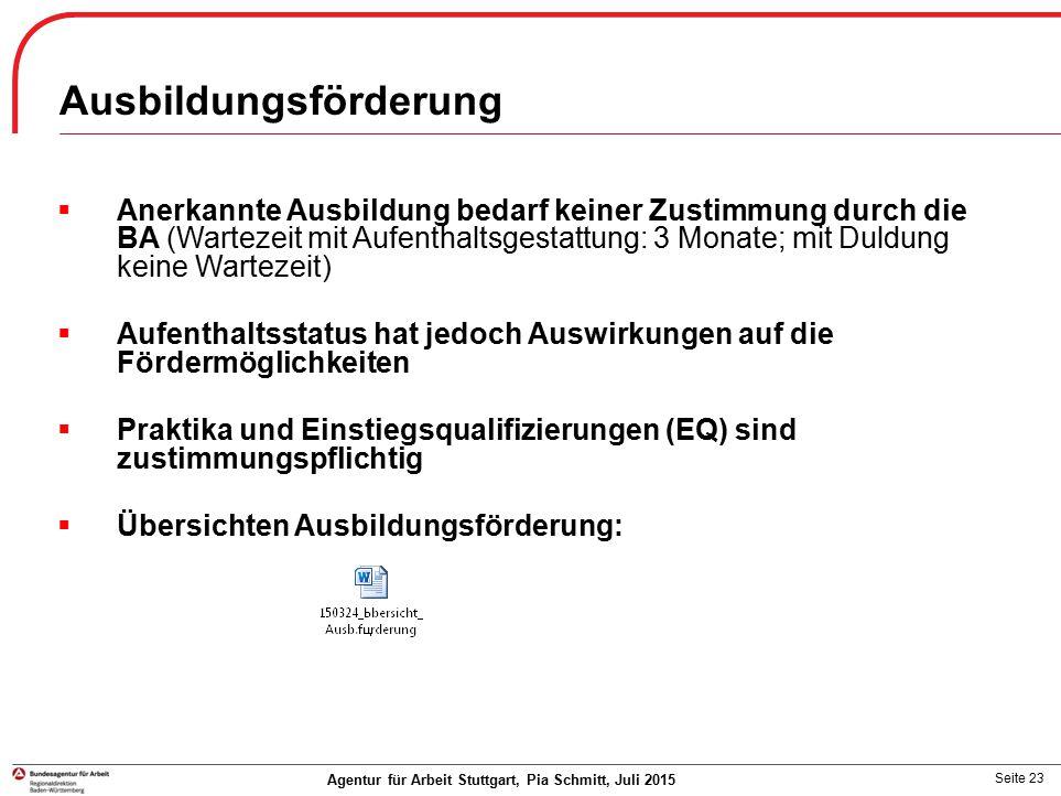 Seite 23 Agentur für Arbeit Stuttgart, Pia Schmitt, Juli 2015  Anerkannte Ausbildung bedarf keiner Zustimmung durch die BA (Wartezeit mit Aufenthalts