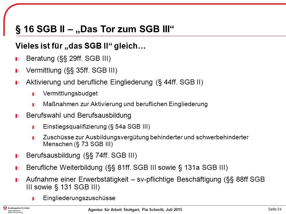 """Seite 24 § 16 SGB II – """"Das Tor zum SGB III"""" Vieles ist für """"das SGB II"""" gleich… Beratung (§§ 29ff. SGB III) Vermittlung (§§ 35ff. SGB III) Aktivierun"""