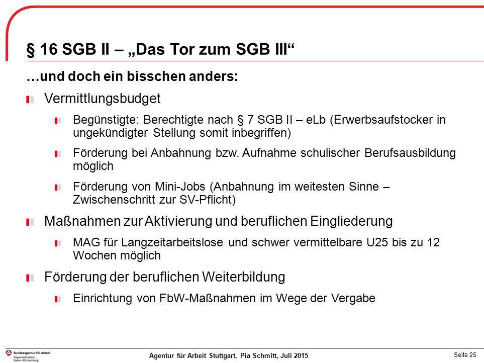 """Seite 25 § 16 SGB II – """"Das Tor zum SGB III"""" …und doch ein bisschen anders: Vermittlungsbudget Begünstigte: Berechtigte nach § 7 SGB II – eLb (Erwerbs"""