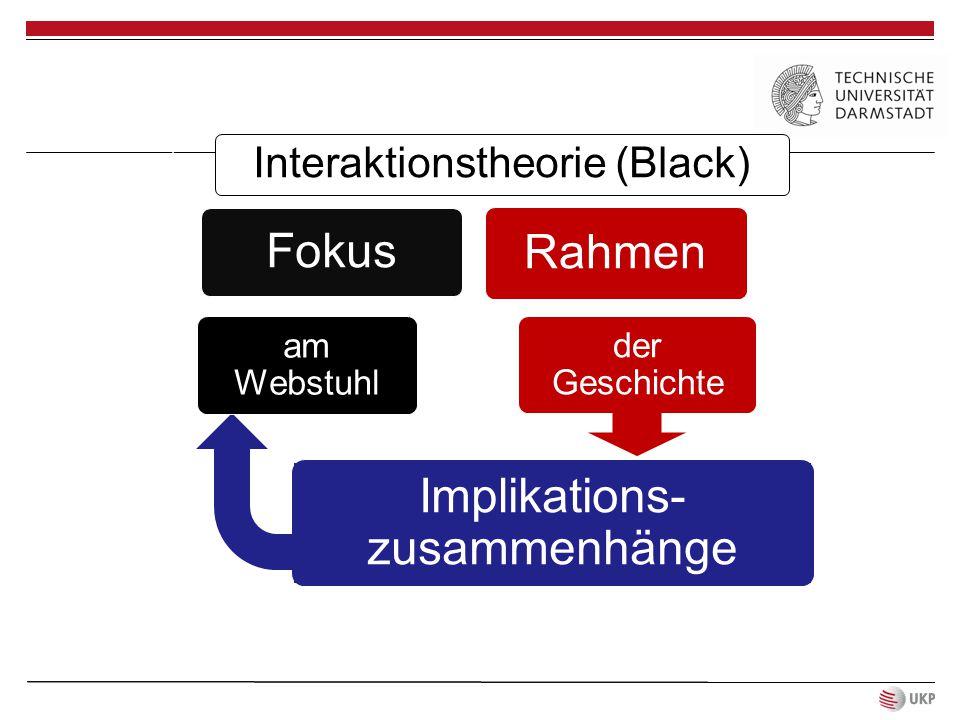 Interaktionstheorie (Black) Fokus Rahmen der Geschichte Implikations- zusammenhänge am Webstuhl