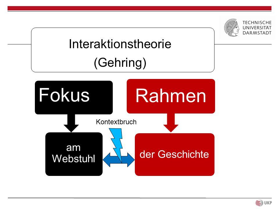 Interaktionstheorie (Gehring) Fokus am Webstuhl Rahmen der Geschichte Kontextbruch