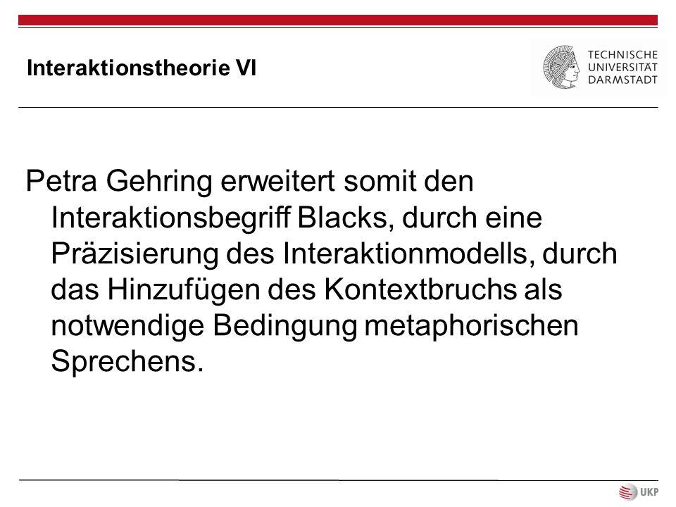 Interaktionstheorie VI Petra Gehring erweitert somit den Interaktionsbegriff Blacks, durch eine Präzisierung des Interaktionmodells, durch das Hinzufü