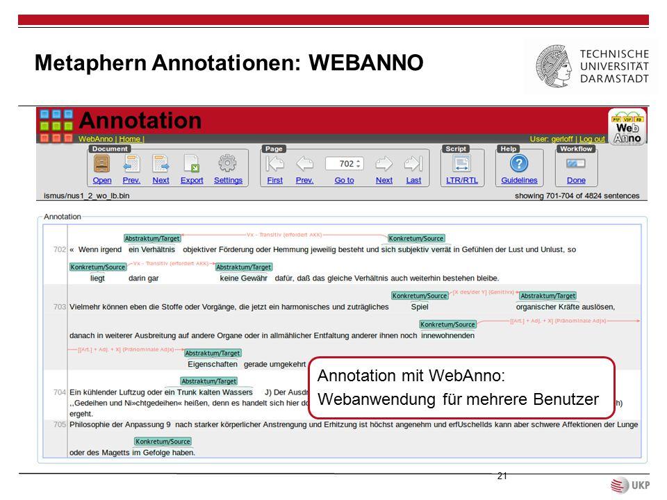 Metaphern Annotationen: WEBANNO 21 Annotation mit WebAnno: Webanwendung für mehrere Benutzer
