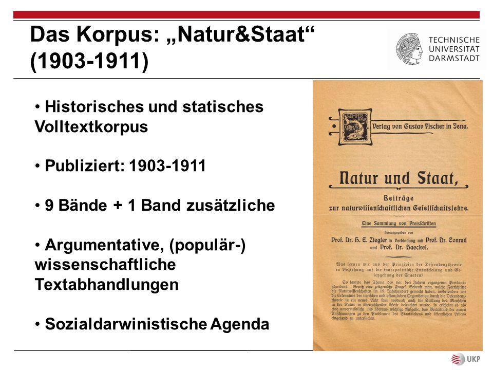 """Das Korpus: """"Natur&Staat"""" (1903-1911) Historisches und statisches Volltextkorpus Publiziert: 1903-1911 9 Bände + 1 Band zusätzliche Argumentative, (po"""
