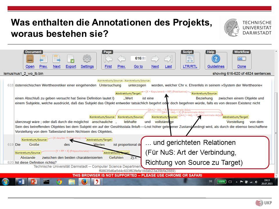 ... und gerichteten Relationen (Für NuS: Art der Verbindung, Richtung von Source zu Target) Was enthalten die Annotationen des Projekts, woraus besteh