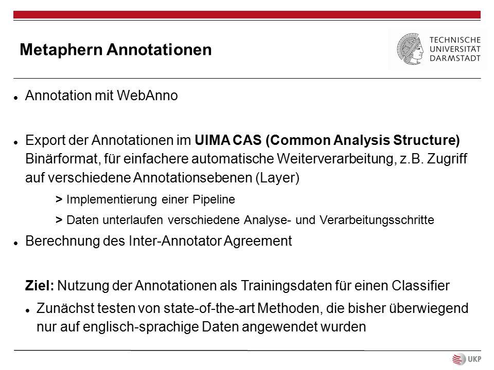 Metaphern Annotationen Annotation mit WebAnno Export der Annotationen im UIMA CAS (Common Analysis Structure) Binärformat, für einfachere automatische