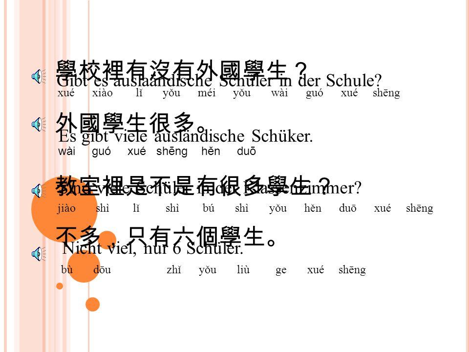 學校裡有沒有外國學生? xué xiào lǐ yǒu méi yǒu wài guó xué shēng Gibt es auslaändische Schüler in der Schule.