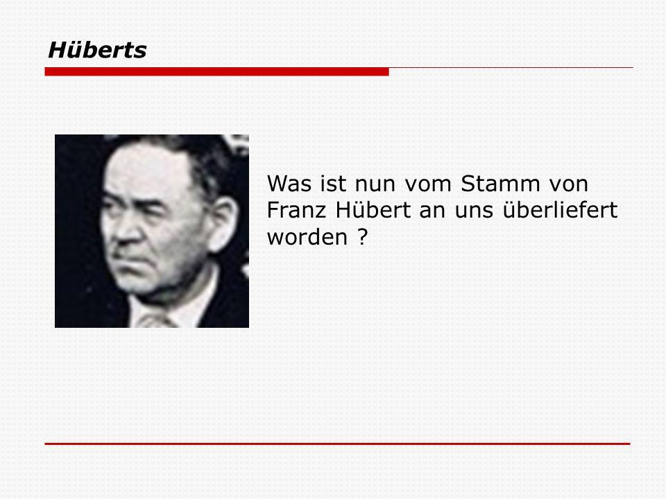 Hüberts Was ist nun vom Stamm von Franz Hübert an uns überliefert worden ?