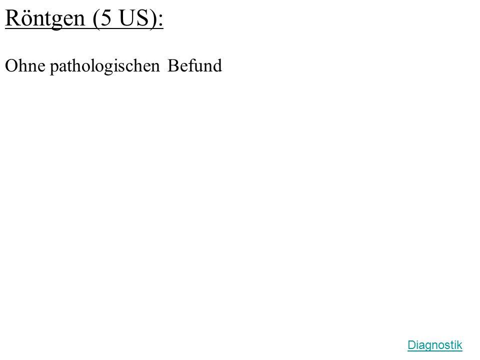 Röntgen (5 US): Ohne pathologischen Befund Diagnostik